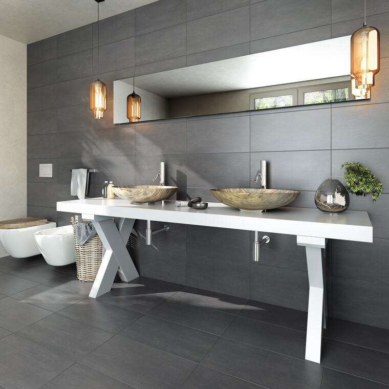 Jykevää, voimakaslinjaista muotoilua karismaattisen mustavalkoisessa kylpyhuoneessa