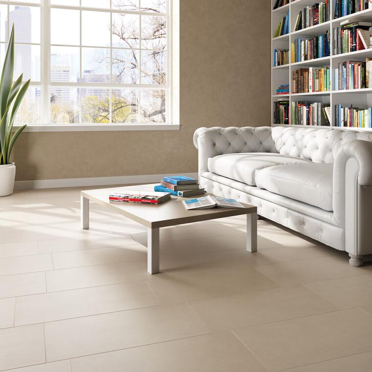 Pehmeän värinen lattialaatoitus tuo hienostuneen ja rauhallisen tunnelman