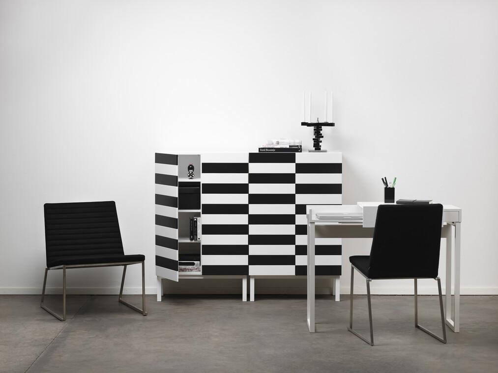 Modernia ja ajatonta tyyliä työhuoneeseen mustavalkoisin kalustein