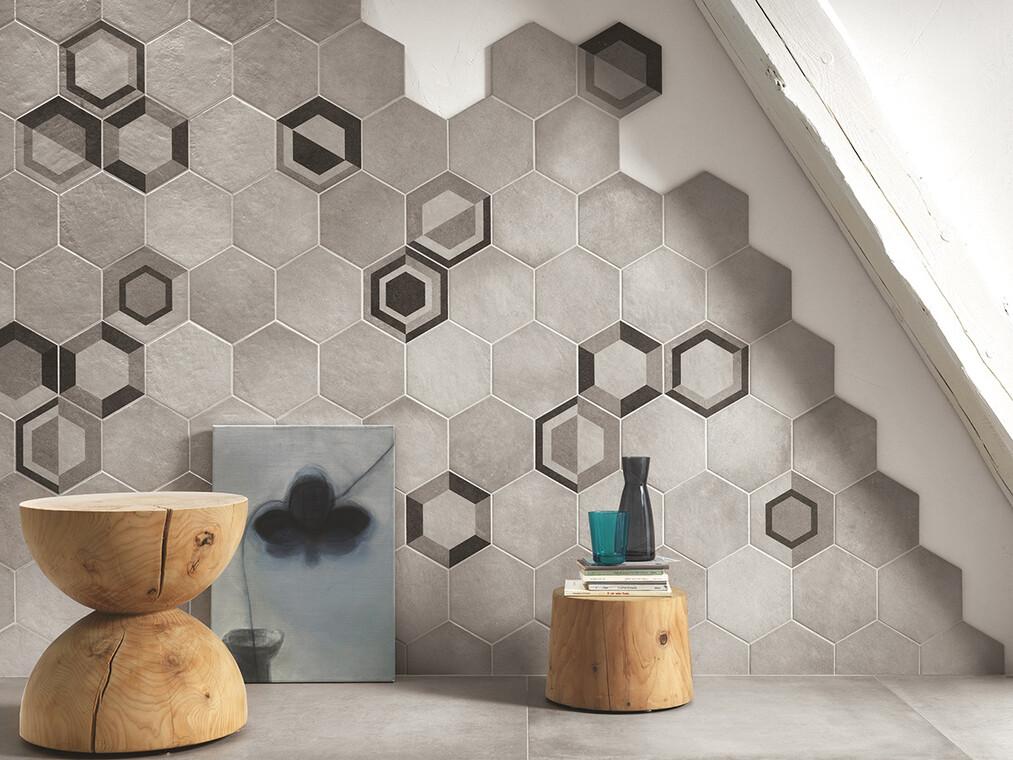 Kuusikulmaisilla laatoilla voi luoda mielenkiintoisia pintoja kotiin
