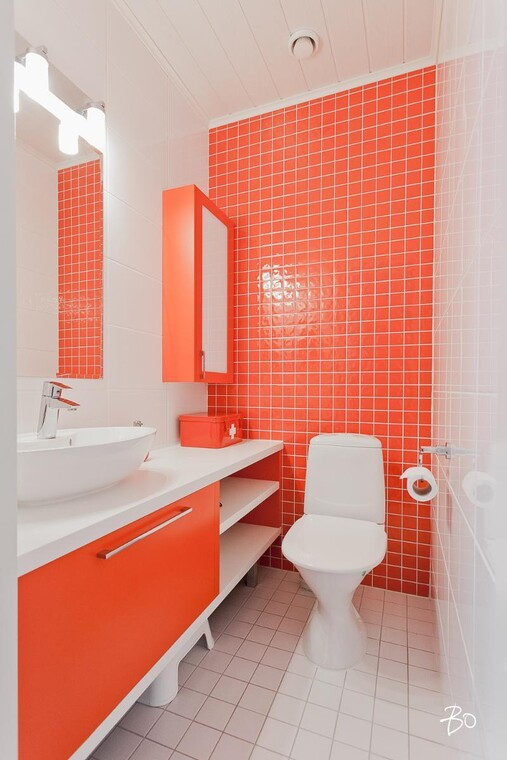 Punavalkoinen vessa kodin väripilkkuna