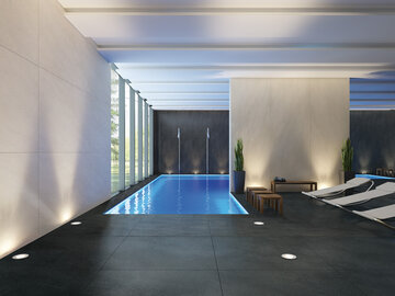 Kylpyhuoneen ylevä ilme syntyy moderneilla massiivisen kokoisilla laatoilla