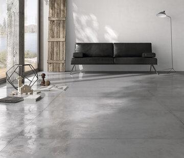 Trendikkäästi betonia muistuttava lattialaatta tuo tilaan teollisen tyylin tuntua