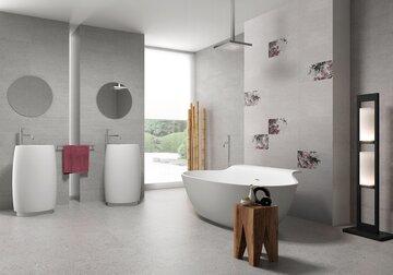Ajattoman kaunista hiekkakivikuosia modernin kylpyhuoneen kaakelipinnoissa