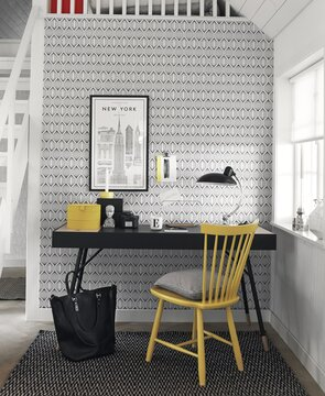 Selkeämuotoisuus ja yhteneväinen kuviointi korostavat hienostunutta tyylikkyyttä työpisteen sisustuksessa