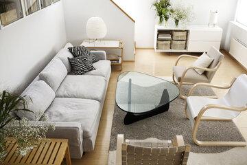 Upeaa skandinaavista tyyliä olohuoneen sisustuksessa