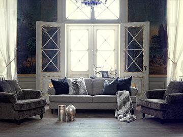 Furninovan klassisen kauniit huonekalut upeassa olohuoneessa