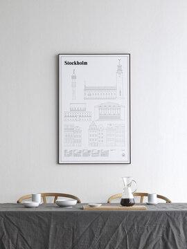 Yksinkertainen juliste kuvaa Tukholman kauneimpia rakennuksia