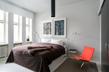 Modernia tyyliä makuuhuoneessa