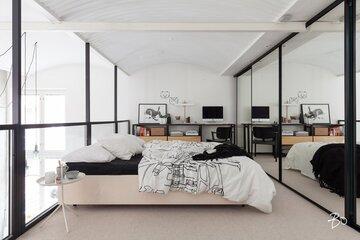 Suuri parvi loft-asunnossa
