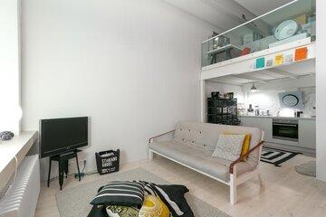 Olohuone loft-asunnossa