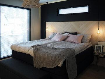 Makuuhuone kohteessa Suola ja pippuri, Asuntomessut 2016 Seinäjoki