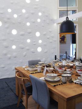 Ruokailutila kohteessa Lumimustikka, Asuntomessut 2016 Seinäjoki