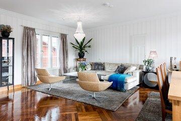 Klassinen olohuone puutalossa