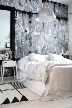 Tyylikäs struktuuriseinä makuuhuoneessa