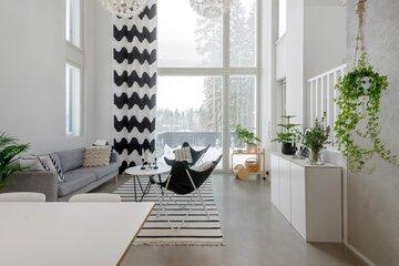 Skandinaavista tyyliä ja betonipintoja olohuoneessa