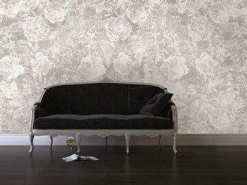 Moderni kukkatapetti olohuoneessa