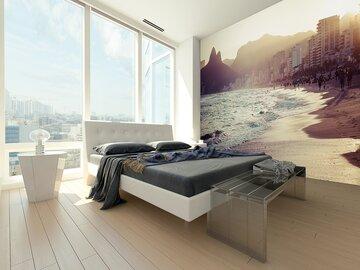 Upea rantamaisema makuuhuoneen tapetissa