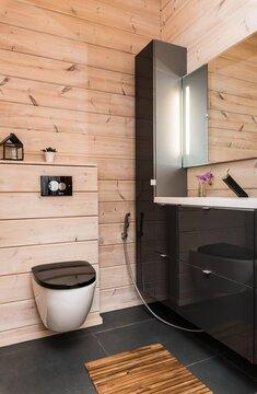 Moderni wc hirsiseinillä