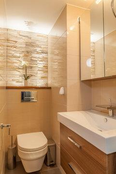 Tyylikäs epäsuora valaistus remontoidussa wc:ssä