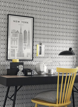 Mustavalkoisia geometrisia kuvioita Borosan-tapetilla