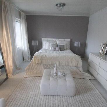 Glamour-tyyliä makuuhuoneessa