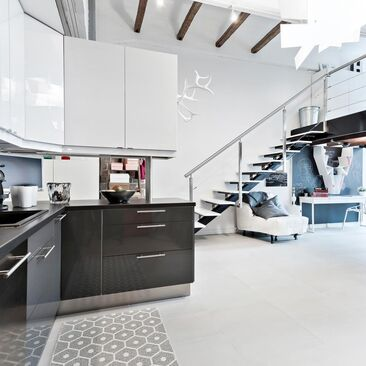 Upean loft-asunnon keittiö