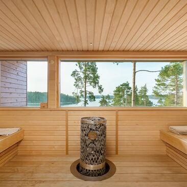 Sauna upealla merinäköalalla