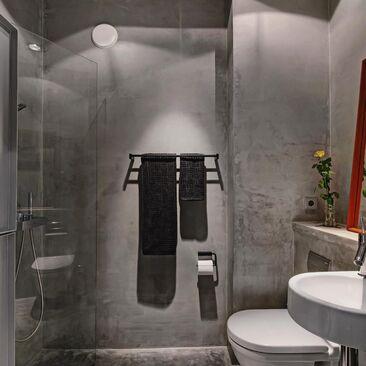 Tyylikäs kylpyhuone betonipinnoilla