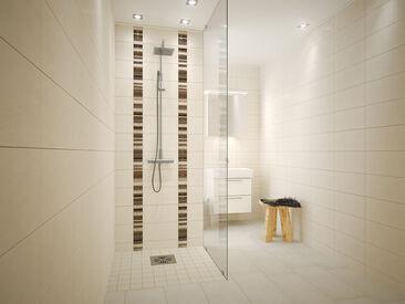 Kylpyhuone saa uutta ilmettä laatoista muodostetuilla kuvioilla