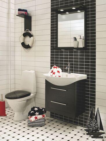 Graafinen ilme kylpyhuonetilan sisustuksessa
