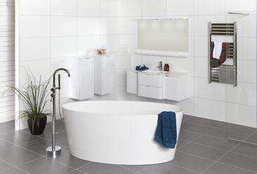 Modernit kylpyhuonekalusteet muodostavat ilmeikkään sisustuksen