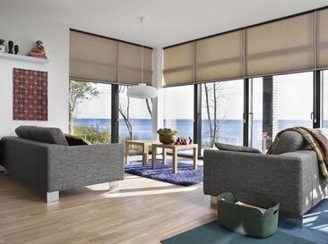 Rauhallinen ja tyylikäs olohuoneen sisustus