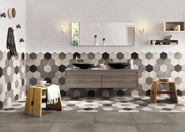 Näyttävä kuusikulmainen laatta sopii sekä kodin lattia- että seinäpinnoille