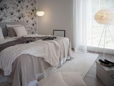 Makuuhuone kohteessa Hartmankoti Salmiakki, Asuntomessut 2016 Seinäjoki