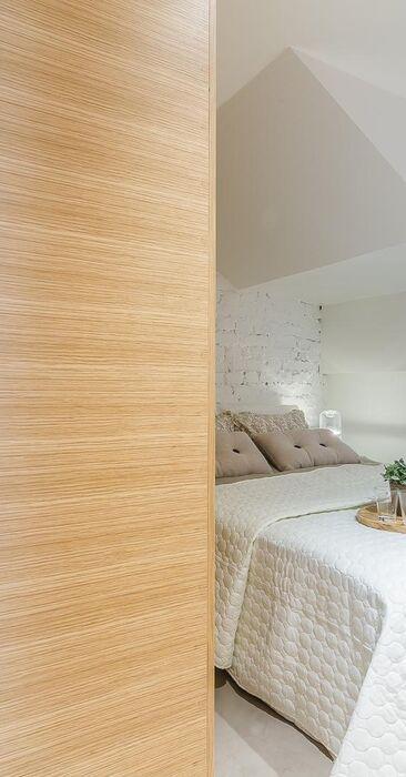 Loft-tyylisen yksiön makuutila
