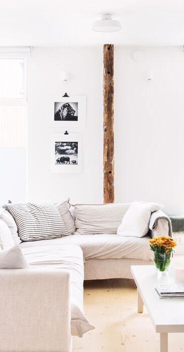 Kodikas ja valoisa olohuone