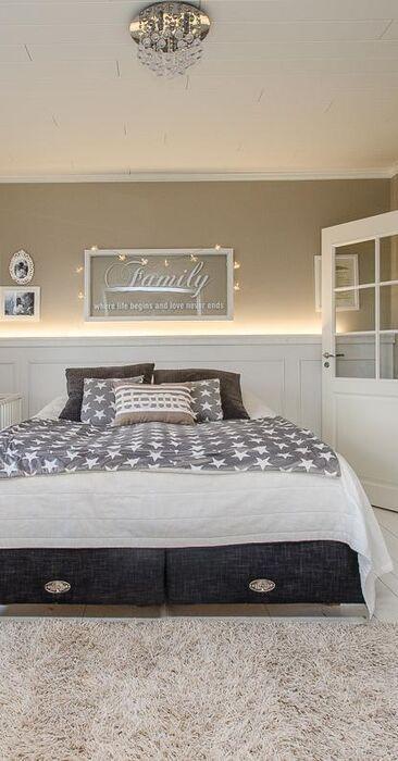 Kaunis maalaisromanttinen makuuhuone