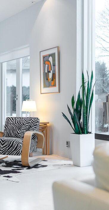 Tyylikästä designia ja taidetta olohuoneen modernissa sisustuksessa