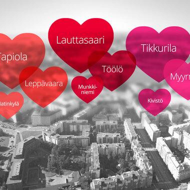 Mitkä ovat Helsingin, Espoon ja Vantaan suosituimmat kaupunginosat?